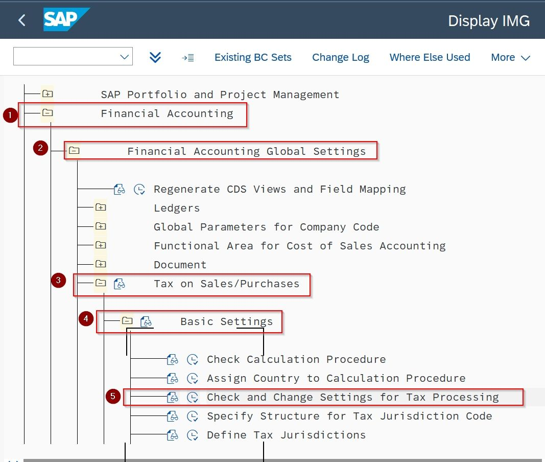 Check and Change Setting for Tax Processing