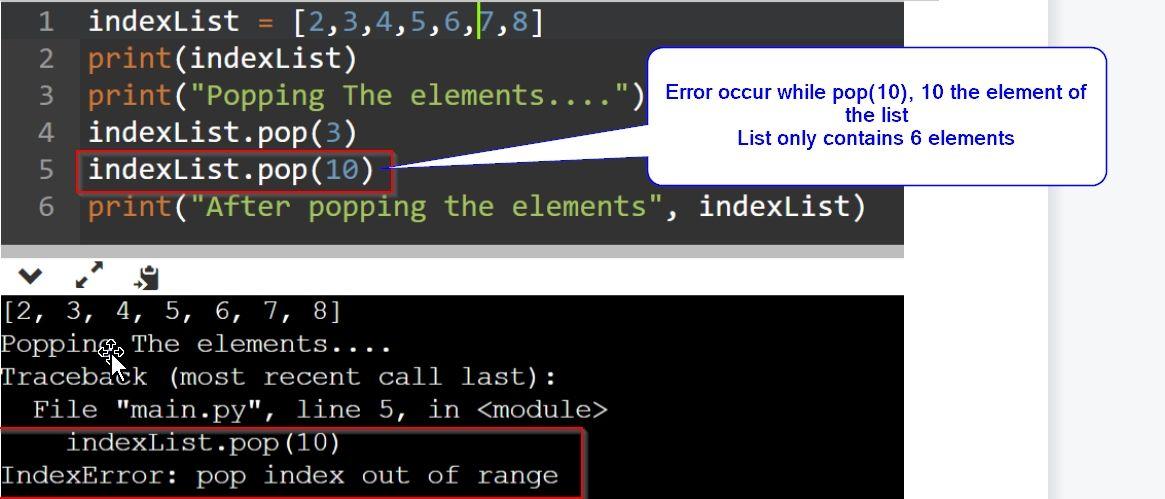 Indexerror: pop index out of range