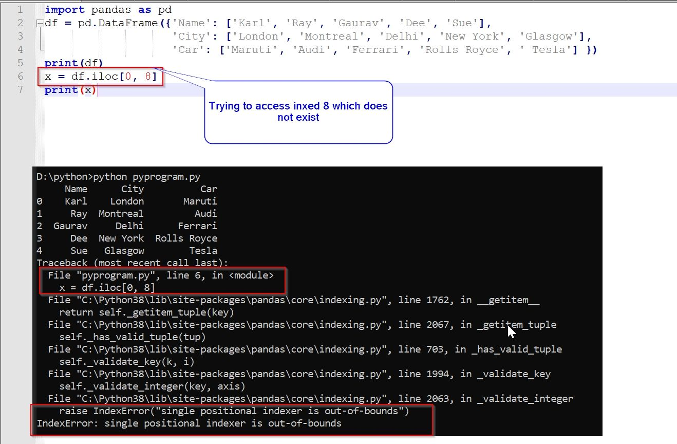 indexerror: Single positional indexer is out-of-bounds Error