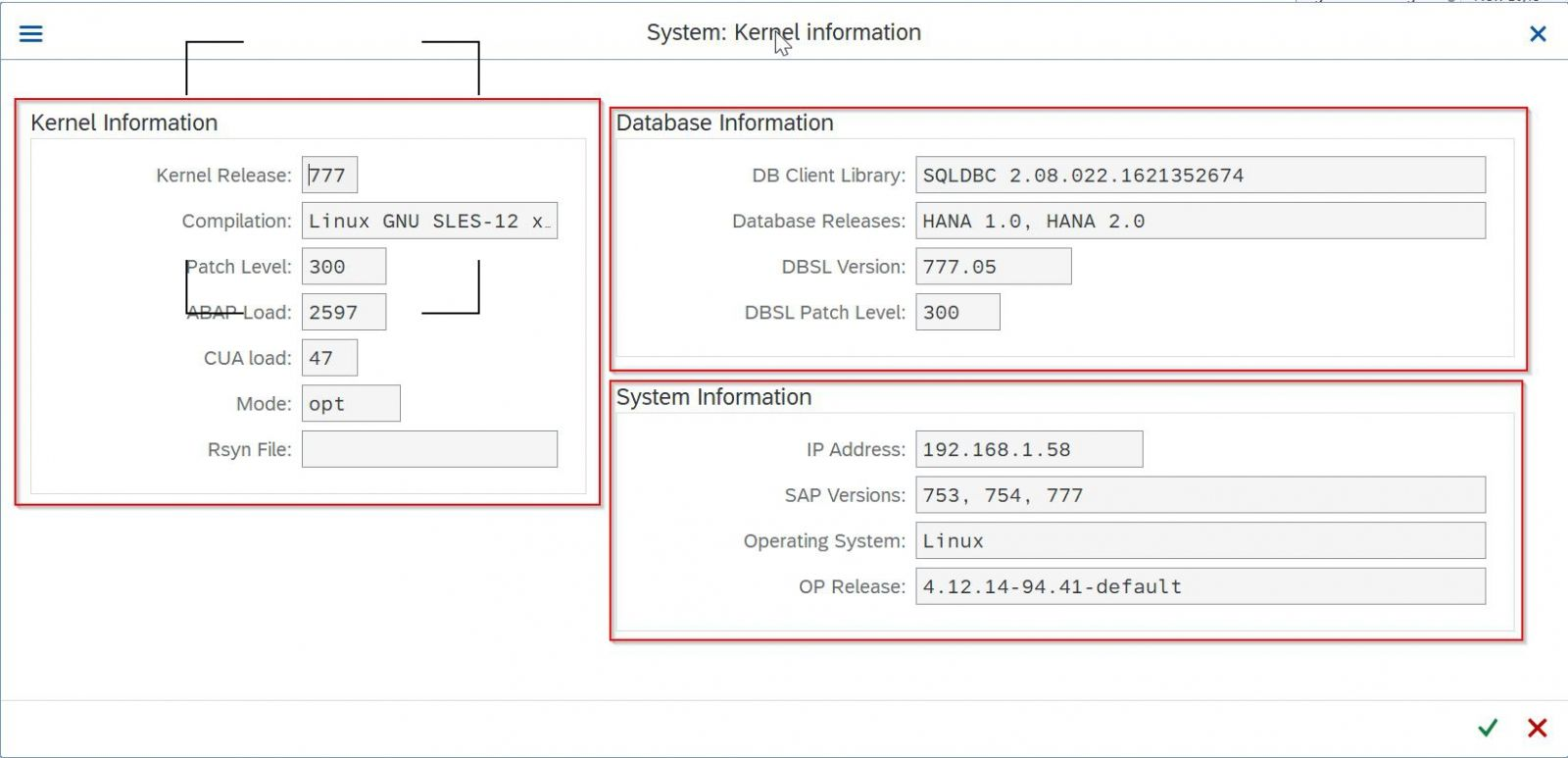 Kernel Information Window