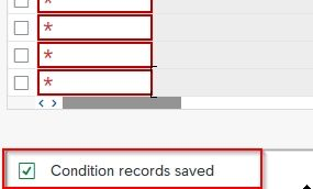 Condition record saved