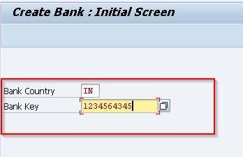 Create Bank Initial Screen