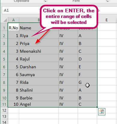 Select a Range of Cells Using the Name Box