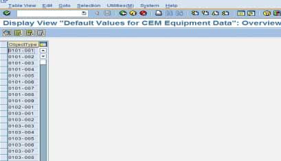 Default Values for CEM Equipment Data
