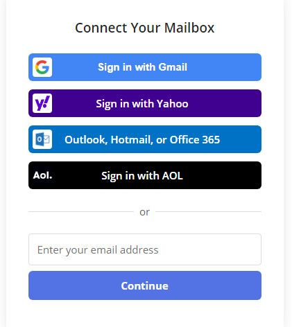 Signin to clean mail app