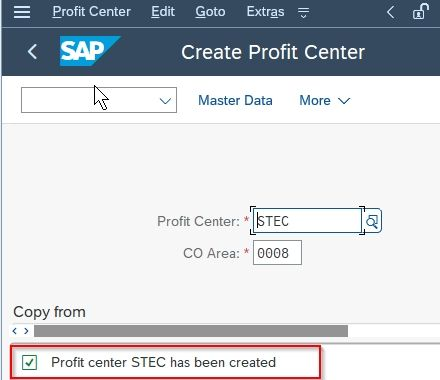 Profit Center Created