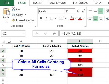 Colour Cell Containg Formula