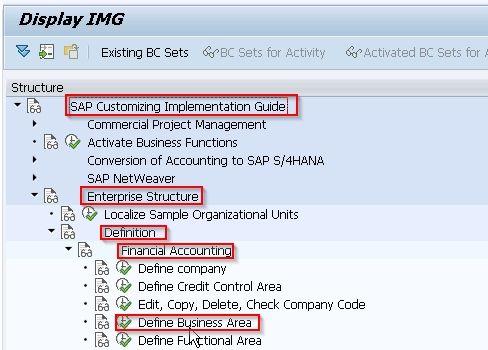 SAP Navigation Menu for Business Area