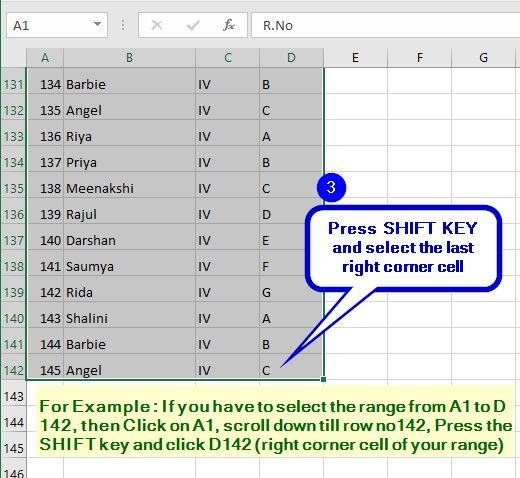 Select a Large Range of Cells with SHIFT KEY