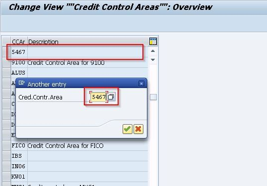 Change View Credit Control Areas