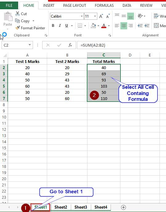 Select cells containing formula