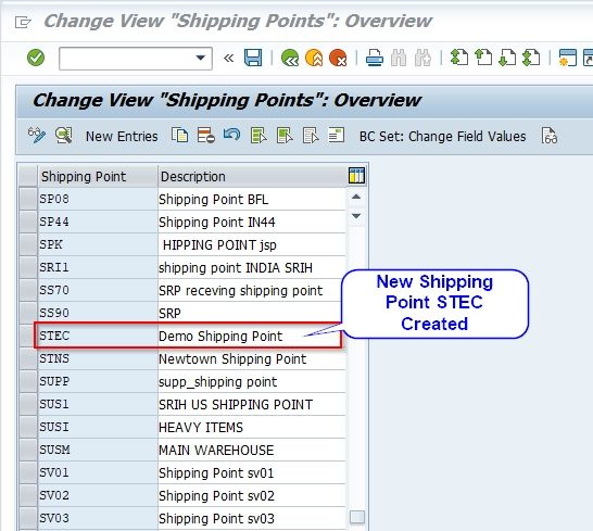 New Shipping Point created