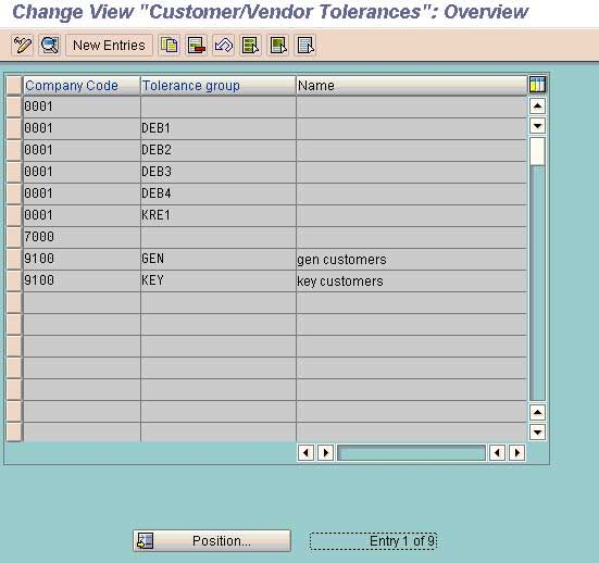 Tolerances for customers and vendors