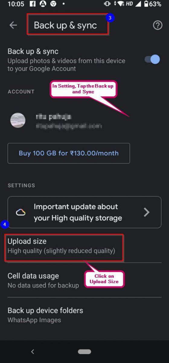 Upload Size Google Photos