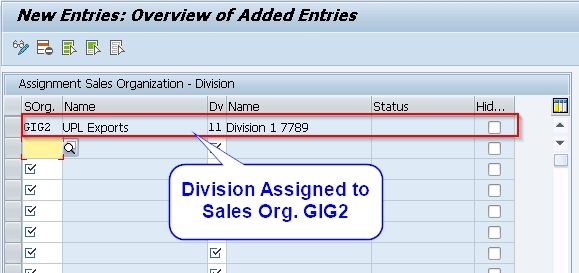 Division assigned to Sales org