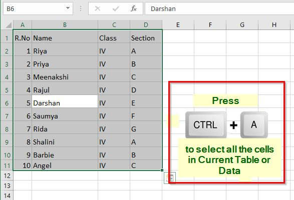 All the Cells in the Current Table/Data