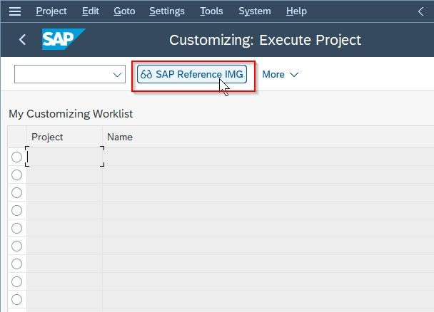 SAP refence IMG