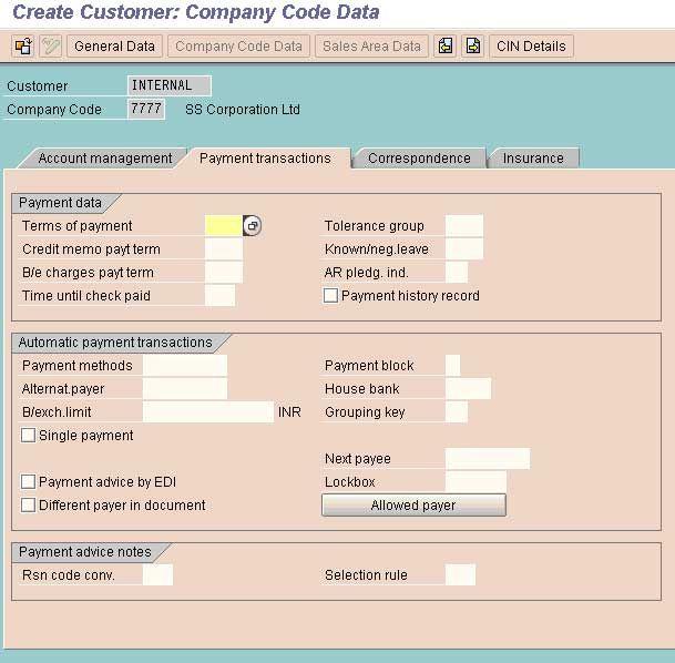Create Customer Master Record