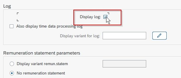 Display log