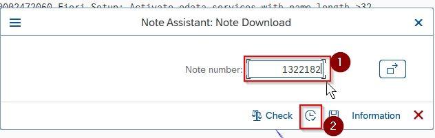 Enter SAP Note Number
