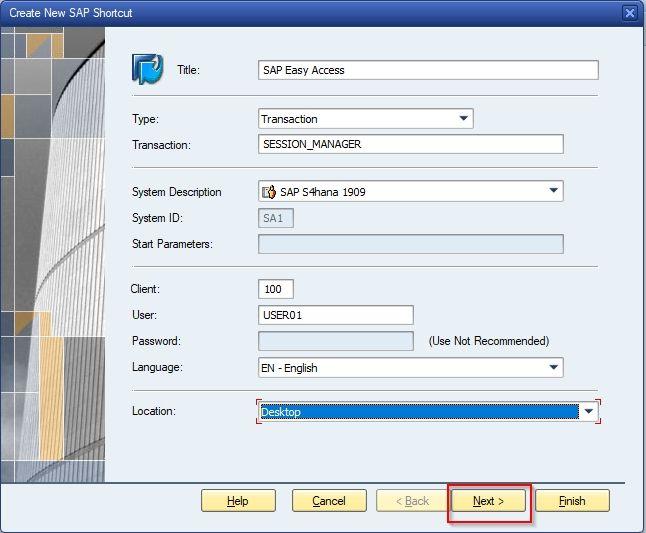 Create SAP Shortcut