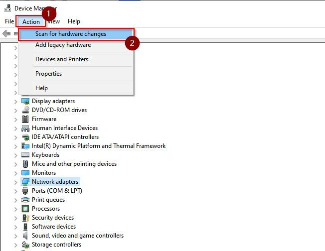 Right click on the network device and select Update Drive