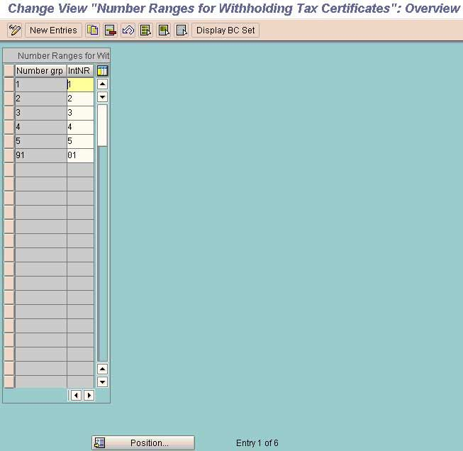 Withholding Tax Codes