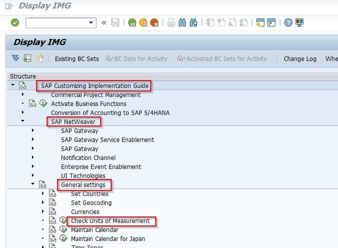 SAP menu for UOM