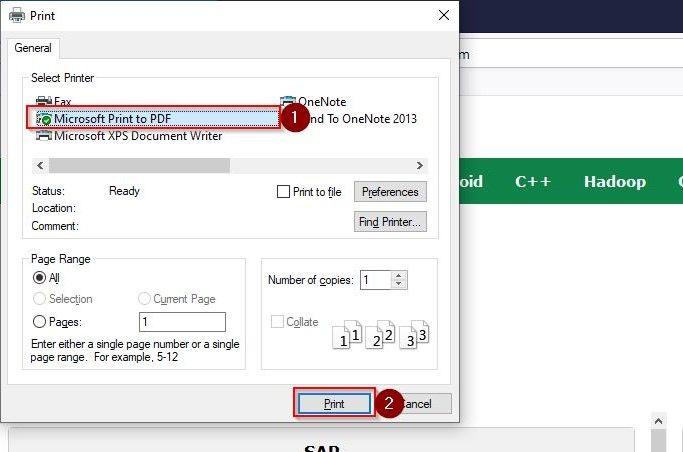 Save Webpage as PDF on Firefox