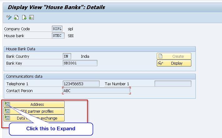 House bank displayed Address