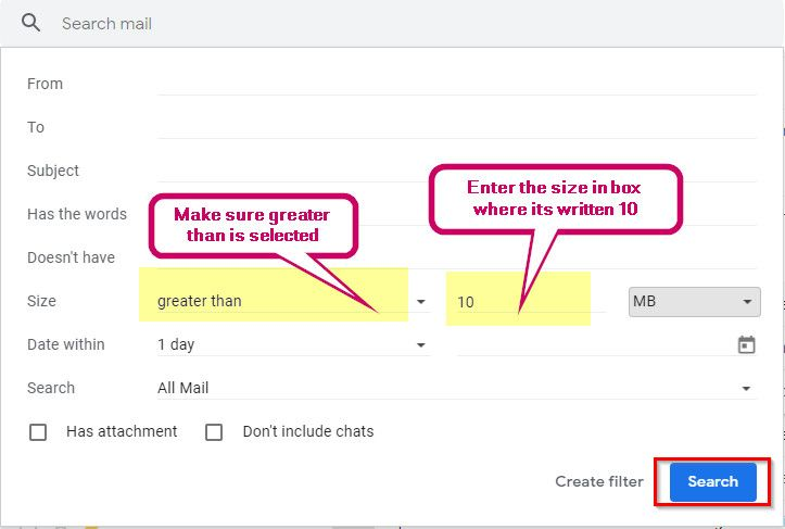 Search Email by Size