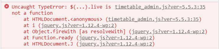 Uncaught TypeError: $(...).live is not a function in WordPress