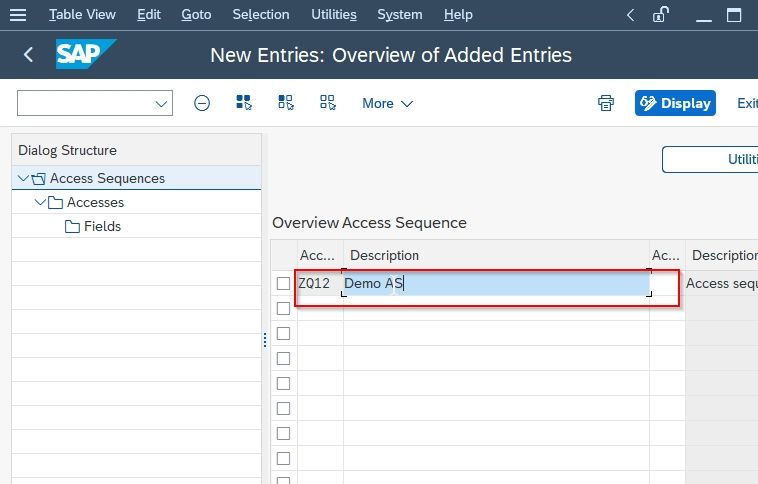 Access Sequence description