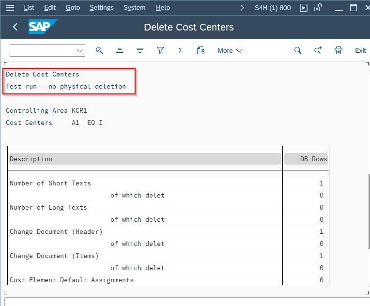 Delete Cost Centers