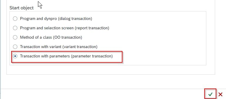 Transaction with parameter