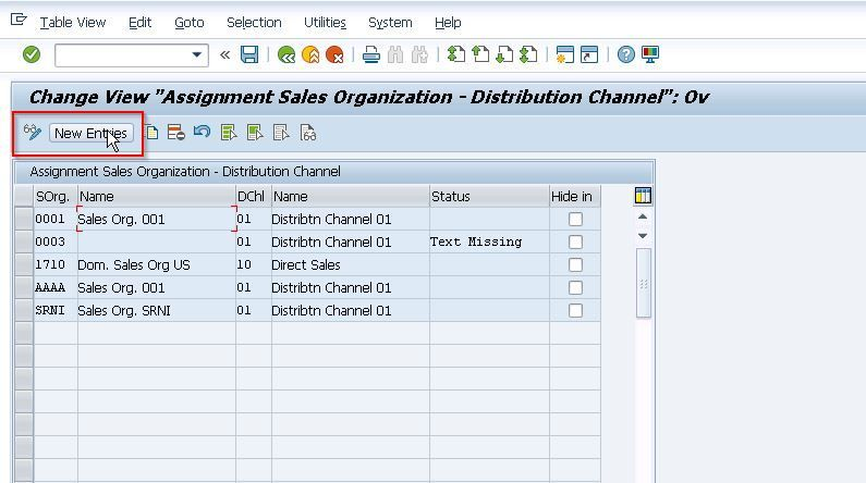 New Entries on Sales Organization Distribution Channel