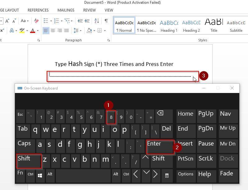 Create Lines in Word Using Keyboard