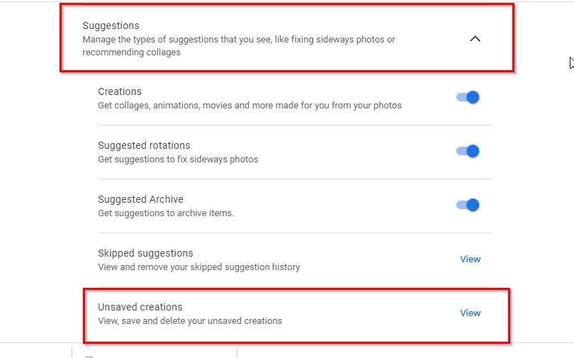 Google Photos Suggestions