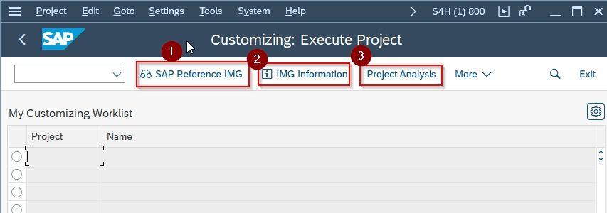 Customizing: Execute Project