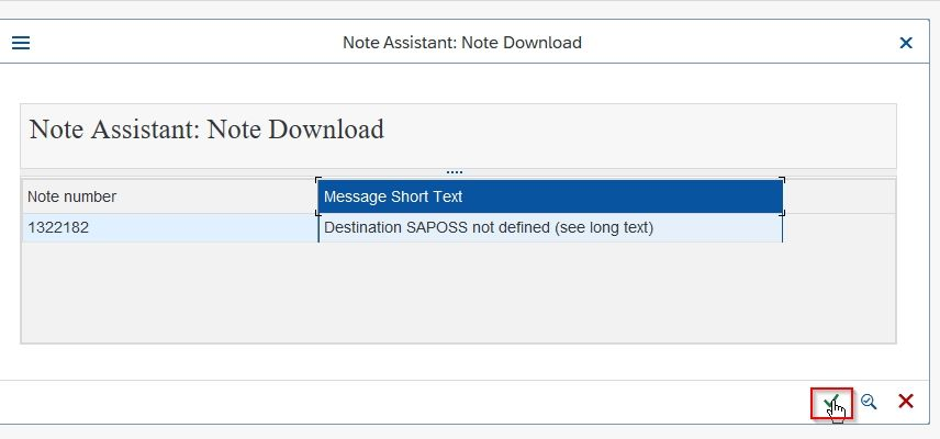 SAP Note Downloaded