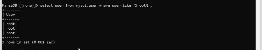 select user root