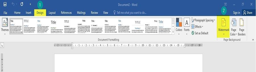 Insert Design Option in Word