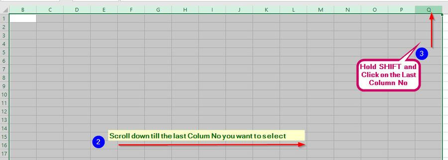 Select One or More Entire Columns of Cells