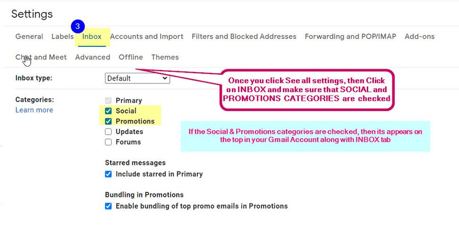enable promotional social mail tab