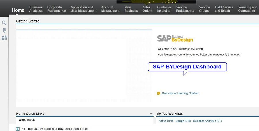 SAP Business ByDesign Dashbard