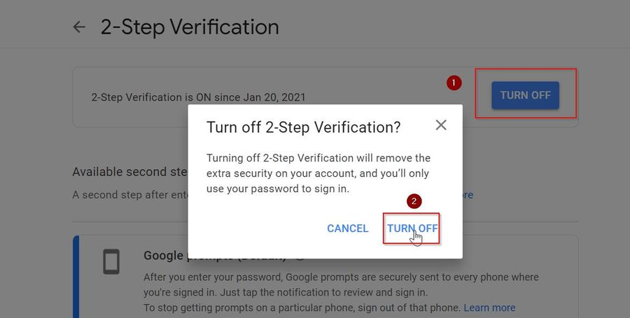Turn off two step verification