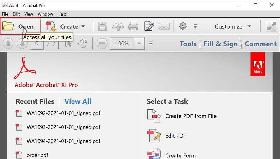 Open File in Adobe Acrobat