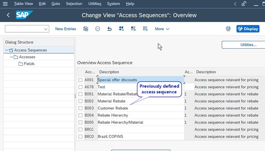 Preivously defined access Sequence