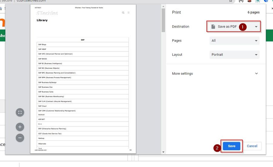 Save Webpage as PDF in Chrome