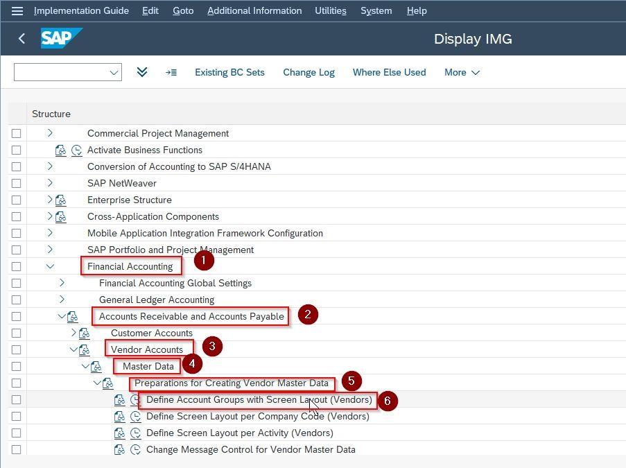 SAP navigation path